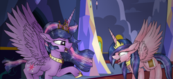 Size: 2026x920 | Tagged: safe, artist:xhalesx, twilight sparkle, oc, oc:magical aura, alicorn, pony, alicorn oc, angry, crying, ethereal mane, new crown, next generation, offspring, parent:flash sentry, parent:twilight sparkle, parents:flashlight, twilight sparkle (alicorn), ultimate twilight, yelling
