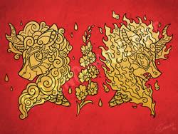 Size: 3994x3000 | Tagged: safe, artist:selenophile, rain shine, kirin, nirik, craft, design, engraving, flower, foal's breath, gold leaf, intricate, watermark