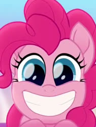 Size: 331x438 | Tagged: safe, screencap, pinkie pie, rainbow roadtrip, cropped, looking at you, smiling, solo