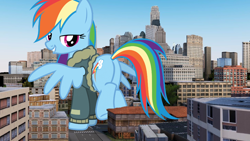 Size: 1456x819 | Tagged: safe, rainbow dash, pony, bomber jacket, building, butt, city, clothes, female, giant pony, giantess, highrise ponies, jacket, looking back, macro, mare, plot, raised hoof