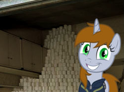 Size: 605x449 | Tagged: safe, artist:brisineo, edit, oc, oc only, oc:littlepip, pony, unicorn, fallout equestria, clothes, coronavirus, covid-19, crazy face, faic, fanfic, fanfic art, female, grin, horn, looking at you, mare, meme, photo, smiling, solo, toilet paper, toilet paper shortage, vault suit