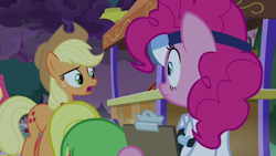 Size: 1920x1080 | Tagged: safe, screencap, applejack, pinkie pie, wensley, the summer sun setback, spoiler:s09e17, apple family member, applejack's hat, butt in the air, clipboard, clothes, cowboy hat, doctor, face down ass up, female, freckles, hat, male, open mouth