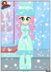 Size: 2480x3507 | Tagged: safe, artist:theminus, fluttershy, human, comic:fluttershy the dark secret, equestria girls, blushing, clothes, coat, cute, female, hat, looking at you, shy, shyabetes, snow, snowfall, winter, winter outfit
