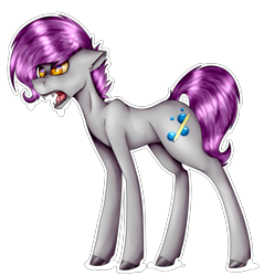 Size: 2079x2172 | Tagged: safe, artist:chazmazda, oc, oc only, oc:doodlebop, pony, commission, commissions open, cutie mark, digital art, eye, eyes, fullbody, highlights, hooves, outline, shade, shading, sharp teeth, simple background, solo, teeth, transparent background