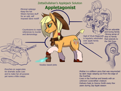 Size: 800x600 | Tagged: safe, artist:zettaidullahan, apple bloom, applejack, big macintosh, granny smith, earth pony, pony, spoiler:g5, applejack (g5), book, box, cultist, eyelashes, eyeliner, female, filly, freckles, g5, hair over eyes, hat, hooffluff, makeup, male, mare, onomatopoeia, raised hoof, reading, reference sheet, smiling, smirk, stallion