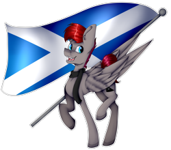 Size: 4055x3565   Tagged: safe, artist:chazmazda, oc, oc only, pegasus, pony, clothes, commission, commissions open, cutie mark, digital art, flag, fullbody, happy, highlights, scarf, scotland, shade, shading, simple background, solo, teeth, transparent background, wings, your character here