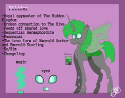 Size: 4494x3546 | Tagged: safe, artist:chazmazda, oc, changeling, pony, cartoon, colored, commission, commissions open, digital art, flat colors, green changeling, magic, my little pony, opacity, outline, reference, reference sheet, solo
