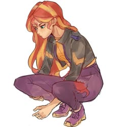 Size: 775x813 | Tagged: safe, artist:keeerooooo1, sunset shimmer, equestria girls, equestria girls series, spoiler:eqg series (season 2), crouching, human coloration, simple background, solo, white background