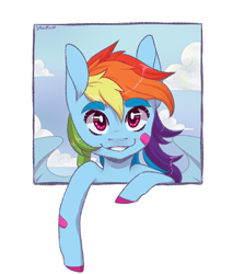 Size: 1700x2000 | Tagged: safe, artist:silbersternenlicht, rainbow dash, pegasus, pony, bandaid, bust, cloud, colored hooves, cute, dashabetes, human shoulders, out of frame, simple background, sky, smiling, solo, transparent background