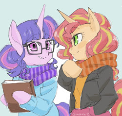 Size: 1165x1115 | Tagged: safe, artist:5mmumm5, sci-twi, sunset shimmer, twilight sparkle, anthro, pony, equestria girls, arm hooves, book, clothes, equestria girls ponified, female, hand in pocket, lesbian, ponified, scarf, scitwishimmer, shipping, sunsetsparkle, winter clothes