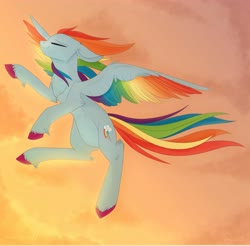 Size: 4096x4032 | Tagged: safe, artist:nyota71, artist:wikatoria71, rainbow dash, pegasus, pony, absurd resolution, chest fluff, cloud, colored hooves, colored wings, commission, eyes closed, female, flying, g5, mare, multicolored wings, rainbow dash (g5), rainbow wings, smiling, solo, spread wings, sunset, wings