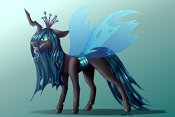 Size: 2700x1800 | Tagged: safe, artist:spirit-fire360, queen chrysalis, changeling, changeling queen, female, green background, simple background