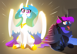 Size: 3508x2480 | Tagged: safe, artist:underpable, princess celestia, princess luna, alicorn, pony, crown, cute, cutelestia, duo, duo female, female, floppy ears, frown, glow, glowing wings, happiness, happy, heat, hot, jewelry, light, lineless, majestic, mare, open mouth, regalia, royal sisters, shrunken pupils, siblings, sisters, sitting, smiling, spread wings, sunshine, sweat, tongue out, wide eyes, wings, worried
