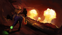 Size: 2560x1440 | Tagged: safe, artist:nsilverdraws, oc, oc:flare-moon, pony, unicorn, fallout equestria, clothes, dutch angle, end of ponies, end of the world, explosion, fallout, fallout 4, hammer, jumpsuit, level 100, male, mountain, mushroom cloud, next level, nuclear explosion, nuclear weapon, orange sky, pipbuck, stallion, vault suit, war hammer, wasteland, weapon