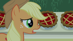 Size: 1920x1080 | Tagged: safe, screencap, applejack, earth pony, pony, the summer sun setback, spoiler:s09e17, applejack's hat, bush, cowboy hat, cute, female, food, freckles, green eyes, hat, looking at something, night, open mouth, pie, side view, solo