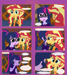 Size: 1808x2039 | Tagged: safe, artist:thomaszoey3000, sci-twi, sunset shimmer, twilight sparkle, human, comic:a shimmering twilight, equestria girls, crying, female, hug, lesbian, scitwishimmer, shipping, sunsetsparkle