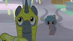 Size: 1920x1080 | Tagged: safe, screencap, cozy glow, lord tirek, pegasus, pony, unicorn, the summer sun setback, spoiler:s09e17, adoracreepy, canterlot, creepy, cute, female, filly, freckles, horns, looking at something, male, metaphorical shadow, night, oh crap, royal guard, shadow, smiling, table, this will not end well