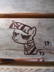 Size: 3464x4618 | Tagged: safe, artist:porsche, twilight sparkle, pony, unicorn, angery, bust, lineart, marker, marker drawing, marker on wood, photo, scrunchy face, traditional art, vandalism, wood