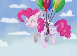 Size: 4500x3300 | Tagged: safe, artist:catscratchpaper, pinkie pie, earth pony, pony, balloon, cloud, cute, diapinkes, eyes closed, female, floating, mare, sky, smiling, solo, then watch her balloons lift her up to the sky