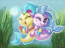 Size: 2224x1668 | Tagged: safe, artist:catscratchpaper, princess skystar, silverstream, seapony (g4), my little pony: the movie, chibi, cousins, duo, eyes closed, female, fins, flower, flower in hair, hug, jewelry, necklace, ocean, one eye closed, pearl necklace, seashell necklace, side by side, smiling, underwater, water, wink