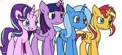 Size: 1280x585   Tagged: safe, artist:cmara, starlight glimmer, sunset shimmer, trixie, twilight sparkle, alicorn, pony, unicorn, female, grin, magical quartet, mare, simple background, smiling, twilight sparkle (alicorn), white background