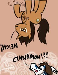 Size: 985x1280 | Tagged: safe, artist:bgn, oc, oc only, oc:cimmaron, oc:vonce, dragon, pony, unicorn, :p, cutie mark, digital art, dragon oc, horn, male, tail, tattoo, text, tongue out, upside down