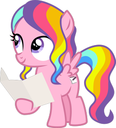 Size: 4000x4426 | Tagged: safe, artist:melisareb, rainbow harmony, pegasus, pony, school raze, .svg available, absurd resolution, cute, female, filly, friendship student, grin, harmonybetes, hoof hold, inkscape, looking at something, looking up, map, multicolored hair, paper, purple eyes, rainbow hair, simple background, smiling, solo, spread wings, transparent background, vector, wavy hair, wings