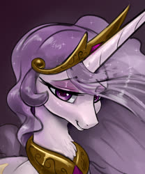 Size: 2374x2851 | Tagged: safe, artist:xbi, princess celestia, alicorn, pony, princess molestia, bedroom eyes, bust, does this look like the face of mercy, female, jewelry, looking at you, mare, peytral, portrait, regalia, smiling, solo
