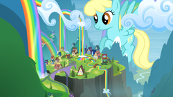 Size: 3840x2160 | Tagged: safe, artist:dipi11, artist:jerryakiraclassics19, artist:the-bitterman, sassaflash, pegasus, pony, cloud, female, giant pony, giantess, highrise ponies, house, macro, mare, rainbow falls (location), rainbow waterfall, tree