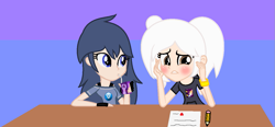 Size: 1171x542 | Tagged: safe, artist:bigcat991, artist:yuettung, human, equestria girls, barely eqg related, base used, blushing, bracelet, clothes, crossover, equestria girls style, equestria girls-ified, fire emblem, fire emblem: awakening, gloves, jewelry, juice, juice box, lucina, nintendo, note, pencil, robin (fire emblem), sipping, super smash bros.