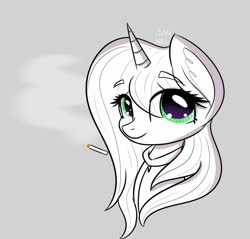 Size: 1080x1034 | Tagged: safe, artist:janelearts, oc, oc only, pony, unicorn, bust, cigarette, cute, gray background, monochrome, ocbetes, simple background, solo