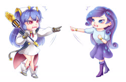 Size: 2300x1500 | Tagged: safe, artist:nikyuuchan, rarity, human, equestria girls, clothes, commission, cygames, dragalia lost, estelle, human coloration, nintendo, open mouth, pointing, pointing rarity, shocked, shoes, simple background, skirt, tabitha st. germain, voice actor joke