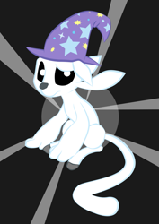 Size: 815x1153 | Tagged: safe, artist:lost_memory, derpibooru exclusive, trixie, .svg available, accessory swap, black eye, clothes, confused, cute, hat, light, looking at you, ori, ori and the blind forest, paws, simple background, sitting, solo, svg, tail, the great and powerful, trixie's hat, vector, white pupils