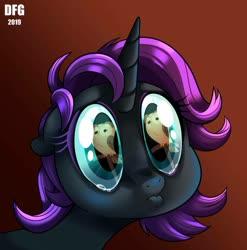 Size: 889x899 | Tagged: safe, artist:dragonfoxgirl, owlowiscious, oc, oc:nyx, alicorn, pony, fanfic:past sins, close-up, crying, eye reflection, female, mare, pouting, puppy dog eyes, reflection