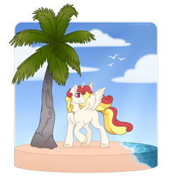 Size: 1600x1632 | Tagged: safe, artist:acry-artwork, oc, oc only, oc:summer blossom, alicorn, pony, beach, female, palm tree, sand, solo, tree, water, ych example, ych result, your character here