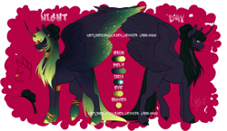 Size: 862x500 | Tagged: safe, artist:cajes, oc, oc only, alicorn, alicorn oc, clothes, colored hooves, colored wings, curved horn, duo, ethereal mane, female, horn, mare, multicolored wings, reference sheet, see-through, simple background, starry mane, transparent background, wings