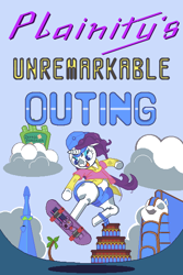 Size: 400x600 | Tagged: safe, artist:zettaidullahan, rarity, twilight sparkle, pony, unicorn, friendship university, alternate hairstyle, backwards ballcap, baseball cap, bust, cap, clothes, cloud, disguise, eyepatch, eyepatch (disguise), female, hat, jumping, mare, plainity, skateboard, underhoof