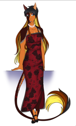 Size: 588x975 | Tagged: safe, artist:blackblood-queen, oc, oc only, oc:daniel dasher, anthro, dracony, hybrid, unguligrade anthro, anthro oc, clothes, cloven hooves, crossdressing, digital art, dress, eyeshadow, jewelry, leonine tail, lipstick, makeup, male, necklace, pearl necklace, red dress, simple background, smiling, stallion, white background, wingless, wingless anthro