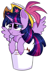 Size: 4000x6000 | Tagged: safe, artist:rainbowtashie, twilight sparkle, alicorn, pony, bucket, cheek fluff, chest fluff, commission, cup, cup of pony, cute, female, fluffy, hat, hay, hoof fluff, looking at someone, looking at something, micro, pirate hat, pirate twilight, simple background, solo, spread wings, tiny, tiny ponies, transparent background, twiabetes, twilight sparkle (alicorn), wings