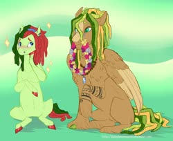 Size: 1280x1042 | Tagged: safe, artist:sleepydemonmonster, oc, oc only, oc:chandelier swing, oc:meadow breeze, earth pony, pegasus, dreadlocks, female, half-siblings, interdimensional siblings, jewelry, magical lesbian spawn, male, mare, necklace, offspring, parent:fluttershy, parent:songbird serenade, parent:tree hugger, parents:flutterhugger, parents:songhugger, piercing, stallion, wreath