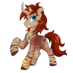 Size: 2400x2400 | Tagged: safe, artist:hobbes-maxwell, oc, oc only, oc:nilla, abada, bicorn, female, horn, jewelry, leg rings, mare, multiple horns, necklace, raised hoof, simple background, white background