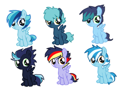 Size: 971x735 | Tagged: safe, artist:soarindash10, oc, oc only, pegasus, pony, blank flank, brothers, brothers and sisters, female, male, next generation, offspring, parent:rainbow dash, parent:soarin', parents:soarindash, pegasus oc, siblings, simple background, sisters, sitting, wings