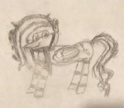 Size: 1036x905 | Tagged: safe, artist:rain sunburst, oc, oc:rain sunburst, pegasus, pony, black and white, clothes, female, glasses, grayscale, mare, monochrome, photo, scarf, sketch, solo, traditional art