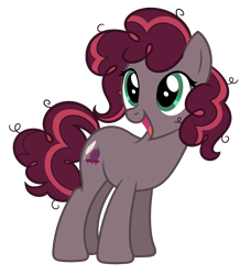 Size: 2100x2300 | Tagged: safe, oc, oc only, oc:mulberry pie, alternate hairstyle, alternate universe, base used, curly hair, happy, offspring, parent:cheese sandwich, parent:pinkie pie, parents:cheesepie, simple background, transparent background