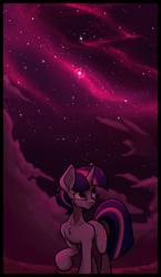 Size: 1250x2150 | Tagged: safe, artist:hc0, twilight sparkle, pony, unicorn, female, mare, night, solo, stars, unicorn twilight