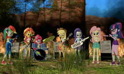 Size: 5120x3072   Tagged: safe, artist:n3onh100, applejack, fluttershy, pinkie pie, rainbow dash, rarity, sci-twi, sunset shimmer, twilight sparkle, equestria girls, 3d, a day to remember, bass guitar, camp everfree outfits, drums, fire, gmod, guitar, humane five, humane seven, humane six, keytar, microphone, musical instrument, speakers, tambourine, the rainbooms, tree