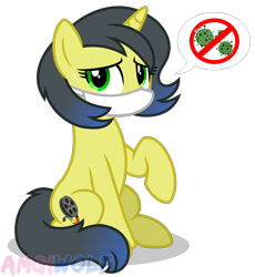 Size: 1561x1699 | Tagged: safe, artist:amgiwolf, oc, oc only, oc:pauly sentry, pony, unicorn, coronavirus, covid-19, female, mare, show accurate, simple background, solo, surgical mask, transparent background
