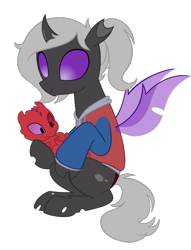 Size: 550x719   Tagged: safe, artist:queencold, oc, oc only, oc:chad, oc:kama ezio clyde armasta laska chadwickson the iv, oc:thorn, changeling, dragon, night fury, adoption, changeling oc, clothes, commission, dragon oc, heterochromia, hoodie, how to train your dragon, imprinting, purple changeling, purple eyes, red dragon, simple background, transparent background
