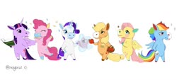 Size: 2048x924 | Tagged: safe, artist:holybrail, applejack, fluttershy, pinkie pie, rainbow dash, rarity, twilight sparkle, alicorn, bee, earth pony, horse, insect, pegasus, pony, unicorn, animal crossing, apple, basket, bipedal, blaze (coat marking), blushing, book, clothes, colored ears, colored hooves, confetti, cowboy hat, dress, female, food, glowing horn, hat, hatless, hoof hold, horn, magic, mane six, mare, missing accessory, simple background, socks (coat marking), sparkles, style emulation, telekinesis, twilight sparkle (alicorn), white background