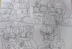 Size: 2432x1654 | Tagged: safe, artist:徐詩珮, fizzlepop berrytwist, glitter drops, moondancer, sour sweet, spring rain, sunny flare, tempest shadow, twilight sparkle, alicorn, pony, unicorn, series:sprglitemplight diary, series:sprglitemplight life jacket days, series:springshadowdrops diary, series:springshadowdrops life jacket days, alternate universe, bisexual, broken horn, chase (paw patrol), clothes, cute, dancerbuse, equestria girls ponified, female, glitterbetes, glitterlight, glittershadow, horn, lesbian, lifeguard, lifeguard spring rain, lifejacket, marshall (paw patrol), mighty pups, paw patrol, polyamory, ponified, shipping, skye (paw patrol), sprglitemplight, springbetes, springdrops, springlight, springshadow, springshadowdrops, tempestbetes, tempestlight, twilight sparkle (alicorn), zuma (paw patrol)